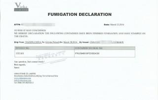 declaration of fumigation
