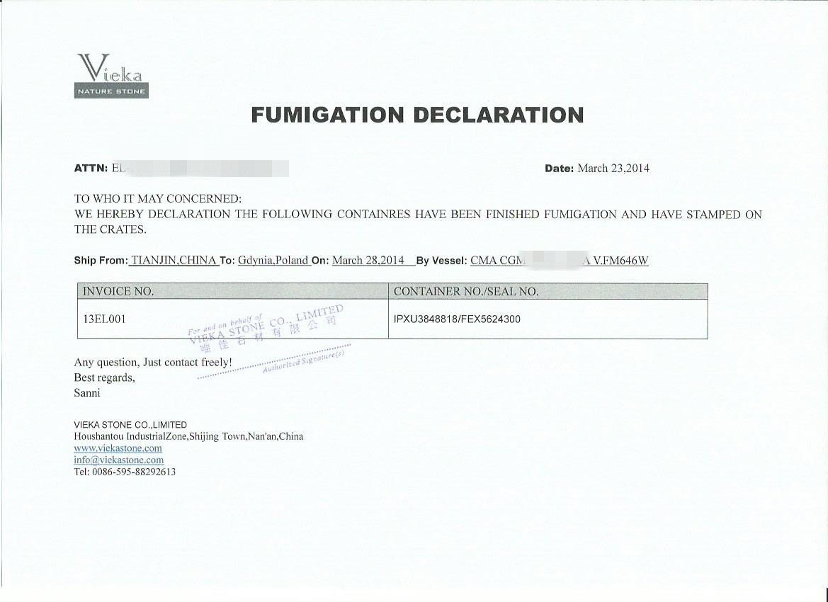 declaration of fumigation 2
