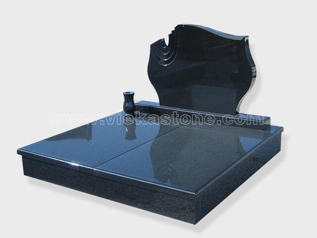 Double shanxi black granite tombstone monument (1)