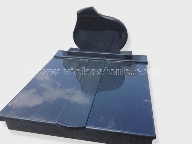 Double india black granite tombstone monument (11)