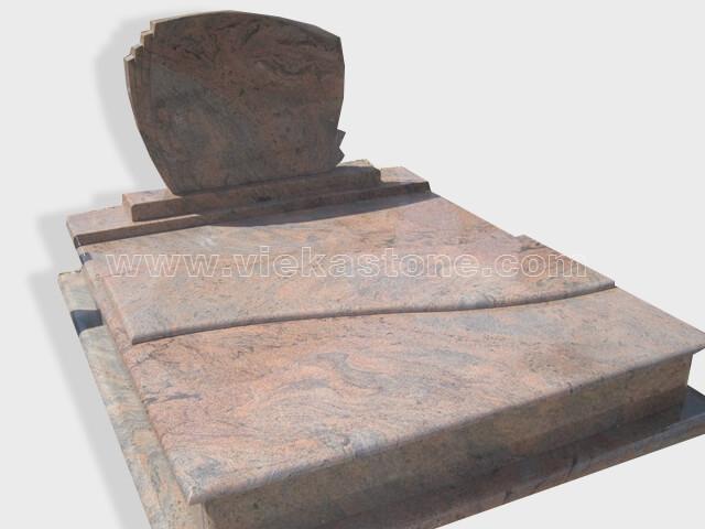 Double multicolor red granite tombstone monument (13)