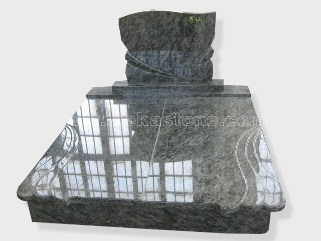 Double olive green granite tombstone monument (2)