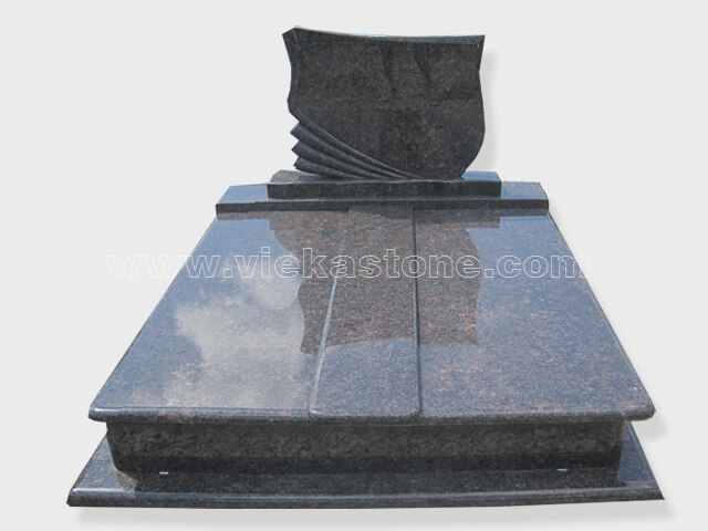 Double tan brown granite tombstone monument (25)