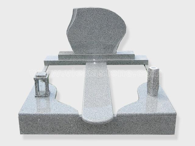 Double G603 grey granite tombstone monument (5)