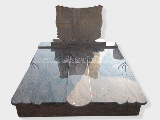 Double multicolor red granite tombstone monument (6)