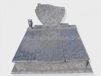 Double bahama blue granite tombstone monument (7)
