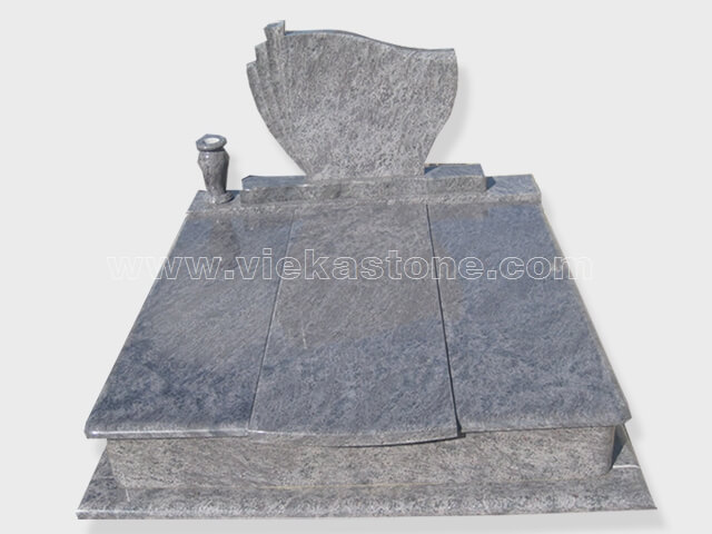 Double bahama blue granite tombstone monument (7)