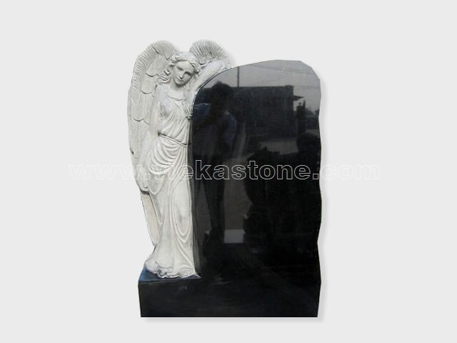 angel statue black granite tomb headstone (5)