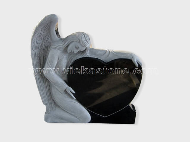 angel statue shanxi black granite tomb headstone (8)
