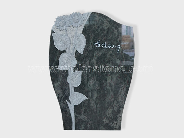 carved tropical green granite tomb headstone (1)