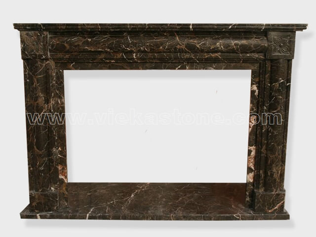 Fireplace Surround Mantel dark emperador marble (12)