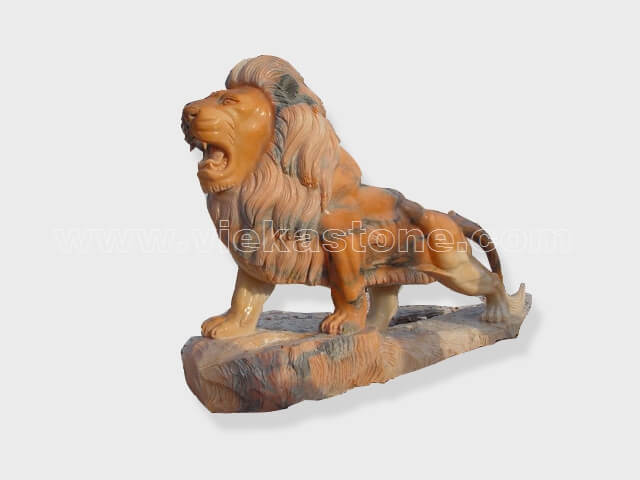 animals Garden Sculpture sunset red lion(12)