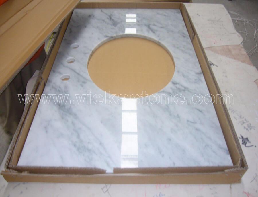 Carrara white vanity top vieka natural culture stone for Mosaic tile vanity top