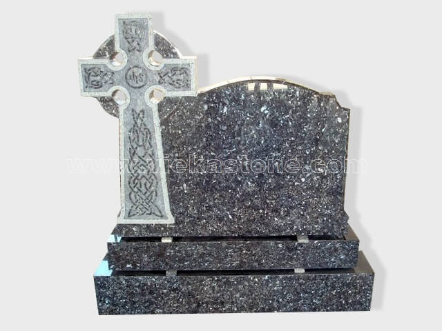 cross blue pearl granite tomb headstone (4)