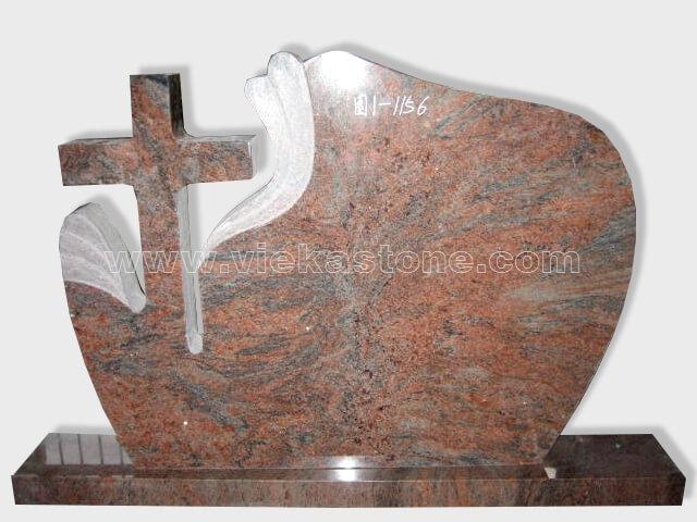 cross multicolor red granite tomb headstone (63.2)