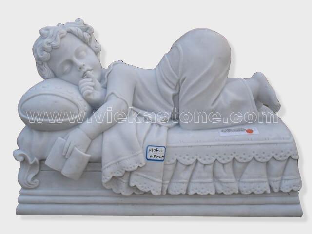 sculptured kid angel statue marble(1)