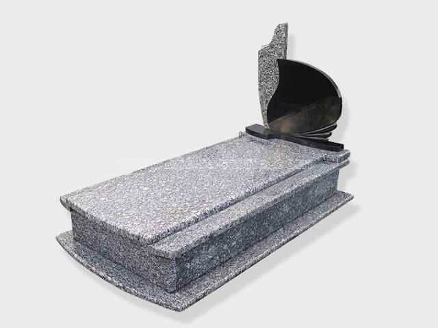 single surf white black granite tombstone monument (3)