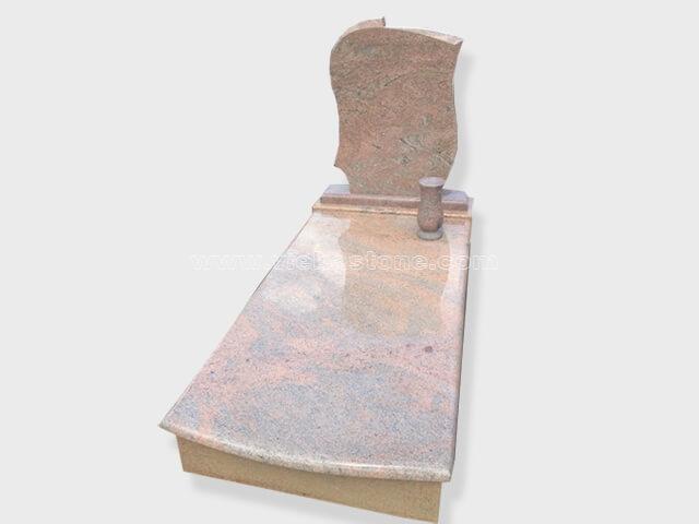 single multicolor red granite tombstone monument (34)