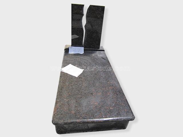 single tan brown granite tombstone monument (41)
