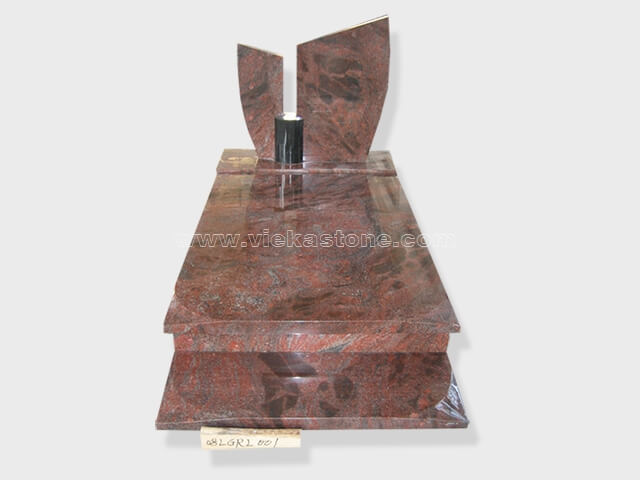 single himalaya red granite tombstone monument (57)