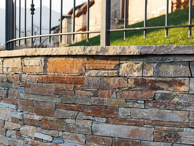 P014 Yellow Slate Cement Wall Stone Pane 2-4
