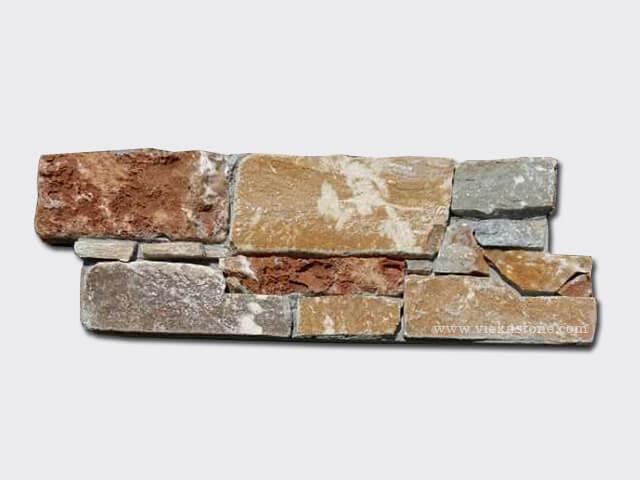 P014 Yellow Slate Cement Wall Stone Pane 2