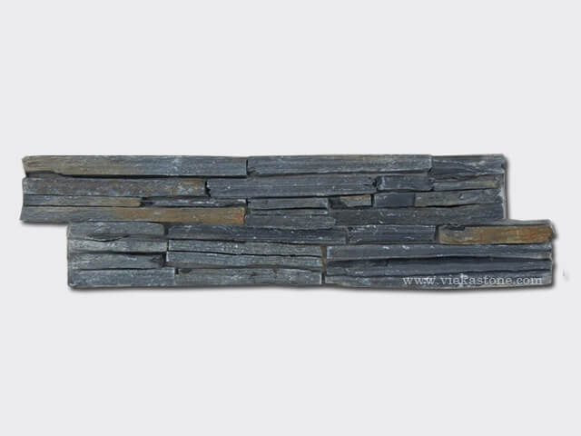 Black Slate Strip Cement Wall Stone Panel 15