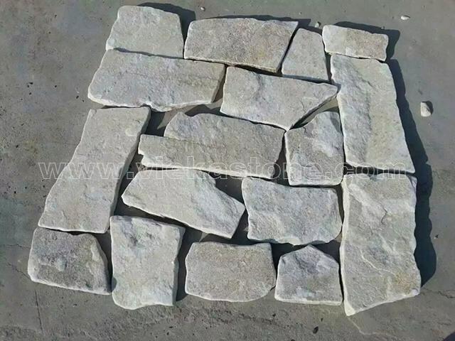 cream white quartzite irregular crazy flagstone paving