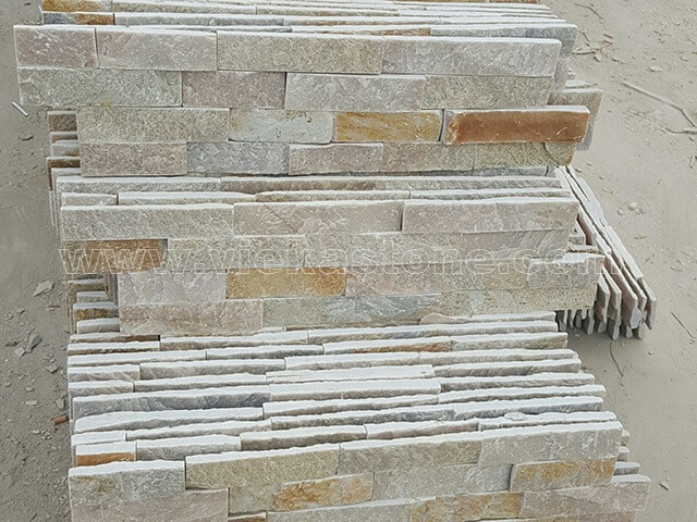 Beige Slate Stone Cladding Wall Panels z shape 4