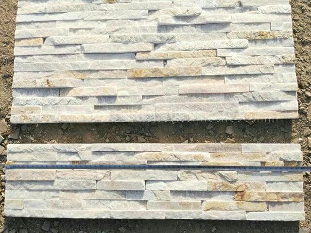 Beige Slate Stone Panels Wall Cladding 8 line Rectangle Shape 3