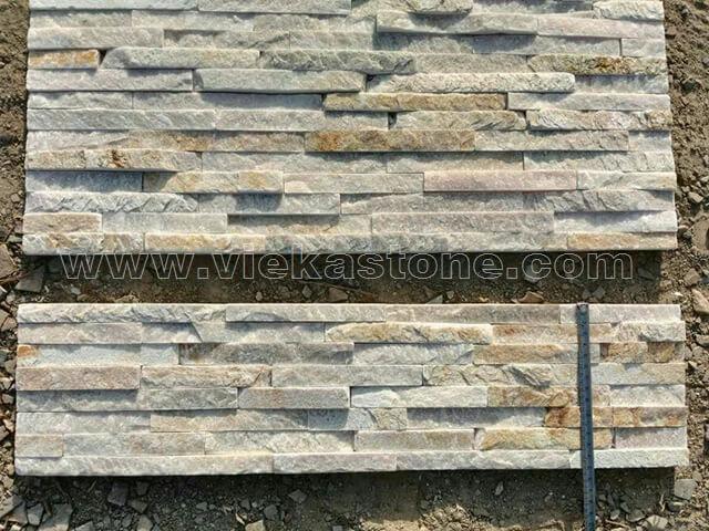 Beige Slate Stone Panels Wall Cladding 8 line Rectangle Shape 4