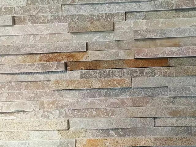 Beige Slate Stone Panels Wall Cladding 8 line Rectangle Shape 5