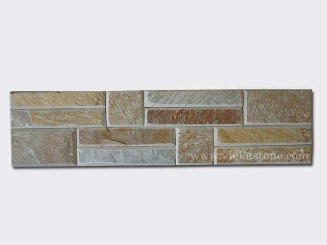 Beige Slate Stone Panels Wall Cladding Bevelled Rectangle Shape 1