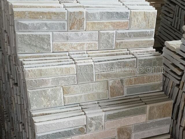 Beige Slate Stone Panels Wall Cladding Bevelled Rectangle Shape 3
