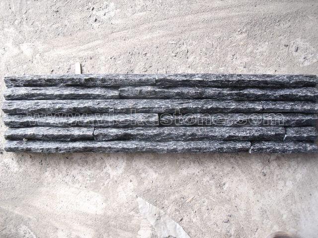 Black Quartz Stone Panels Wall Cladding Mountain Rectangle Shape 2