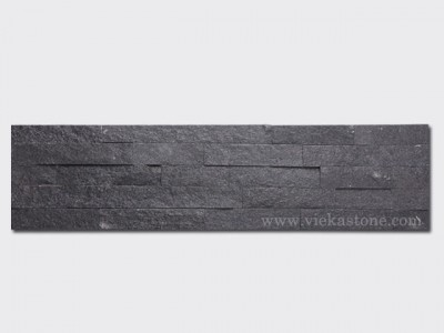 Black Quartz Stone Panels Wall Cladding Rectangle Shape 1