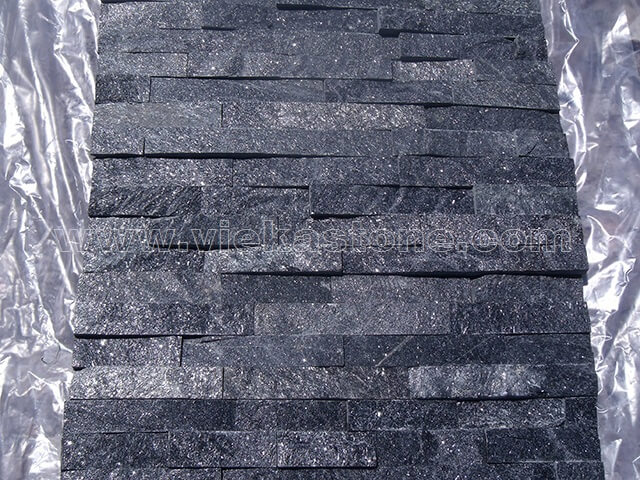 Black Quartz Stone Panels Wall Cladding Rectangle Shape 4