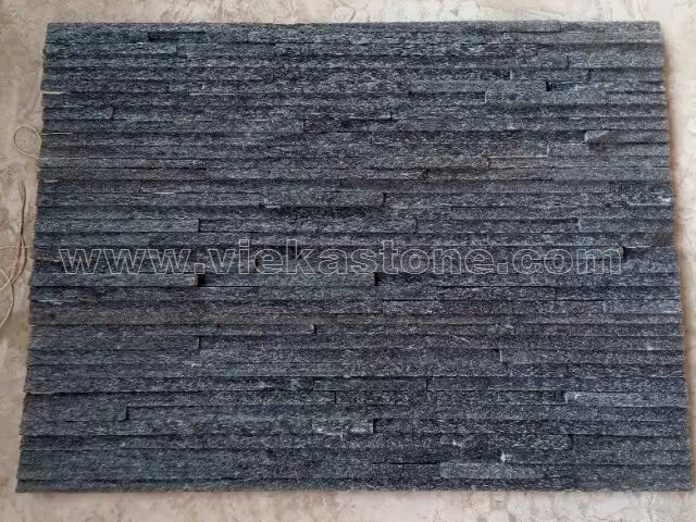 Black Quartz Stone Panels Wall Cladding Waterfall Rectangle Shape 4