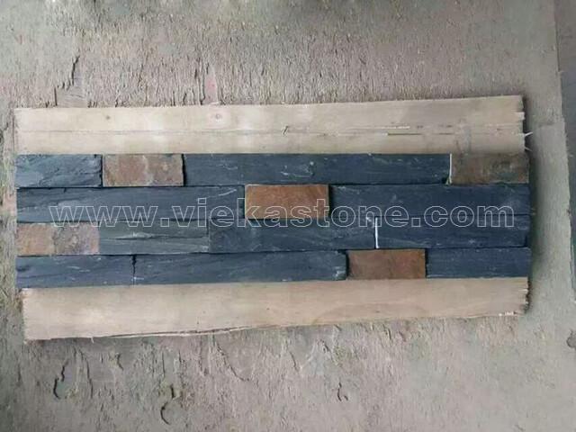 black rustic ledgstone veneer rectangle shape lp12-2