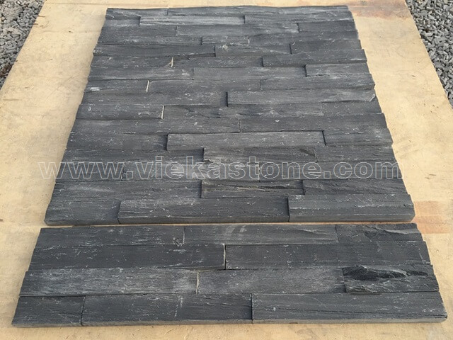 black slate charcolal ledgestone veneer rectangle shape lp08-4
