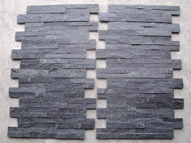 Black quartz culture stone wall panel s shape 3
