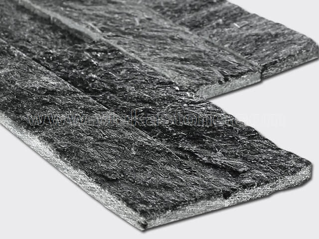 black quartz thin stone veneer slim panel 3