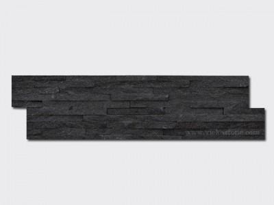 Black quarz stone cladding wall panels 10 line Z shape 1