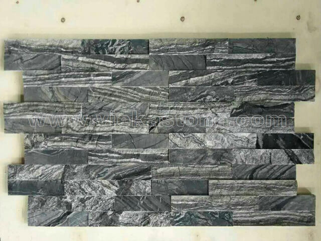 Black wooden marble stone cladding wall panels Z shape 3