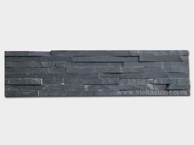 Charcoal Black Slate Stone Panels Wall Cladding 8 line Rectangle Shape 1