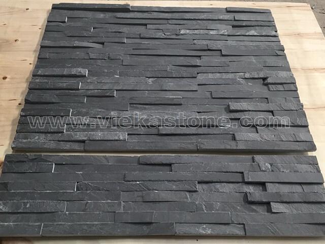 Charcoal Black Slate Stone Panels Wall Cladding 8 line Rectangle Shape 3