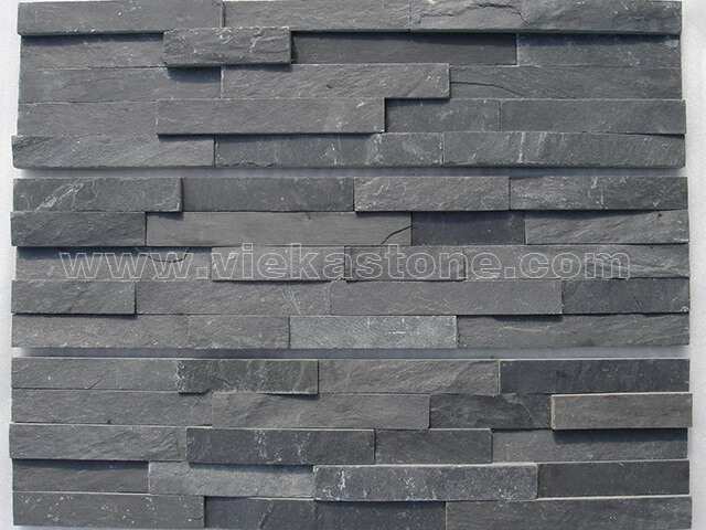 Charcoal Black Slate Stone Panels Wall Cladding Rectangle Shape 4