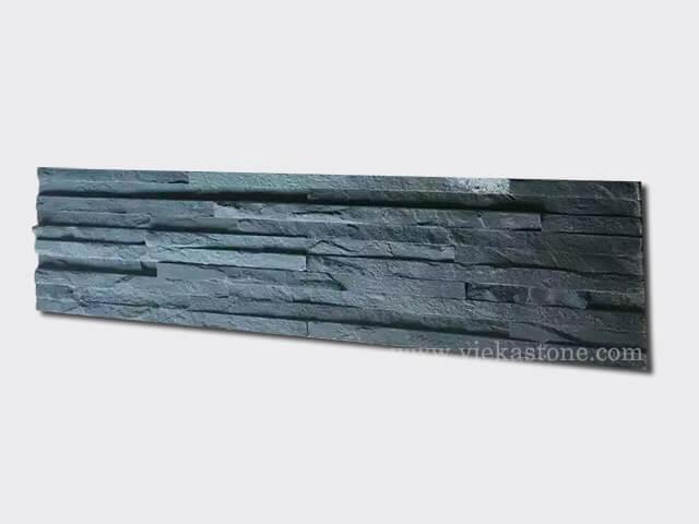 Charcoal Black Stone Panels Wall Cladding 10 line Rectangle Shape 1