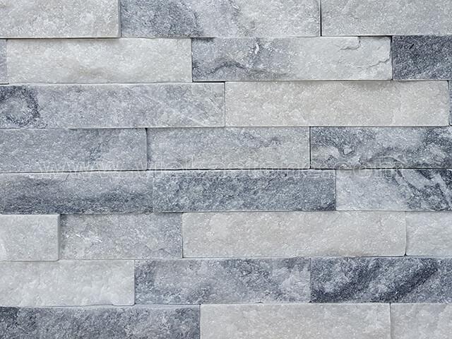 Cloud Grey Quartz Stone Cladding Wall Panels z shape 4