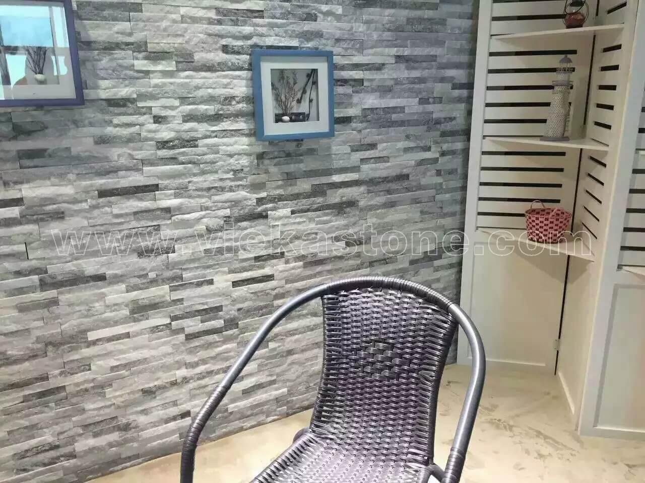 Cloud Grey Quartz Stone Cladding Wall Panels z shape 5